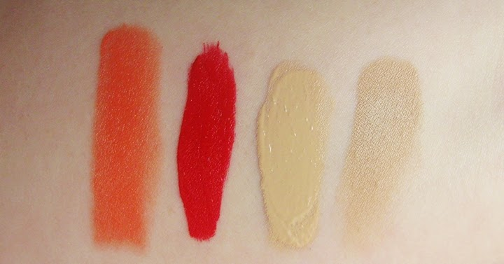 princess peach swatch, always red sephora swatch, artdeco 6 swatch, bourjois hm serum 52 swatch,