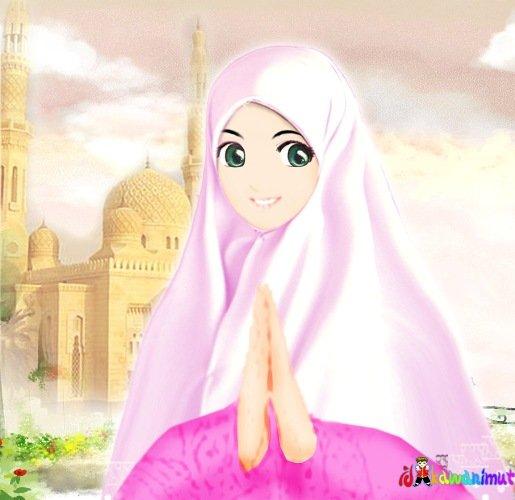Gambar Kartun Cewek Sholihah Berjilbab -- Sumber: Google