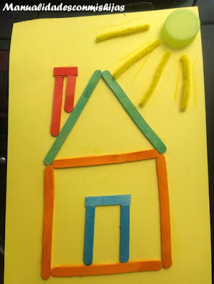 Collage de casa con palitos - Manualidad infantil