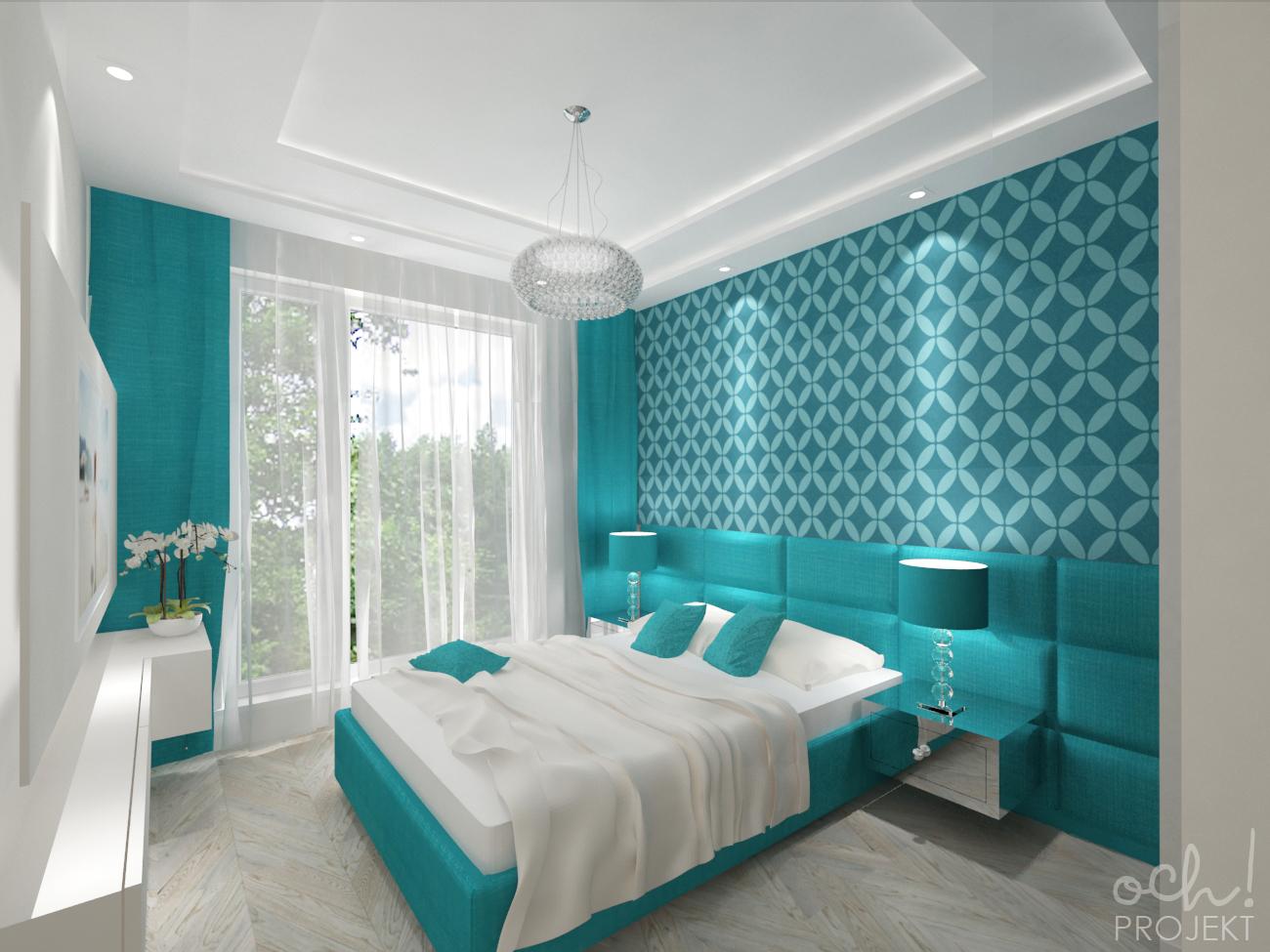 Ochprojekt Projekt Turkusowej Sypialni I Lazienki
