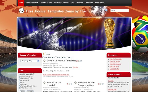 Free Soccer World Cup Joomla Theme Template