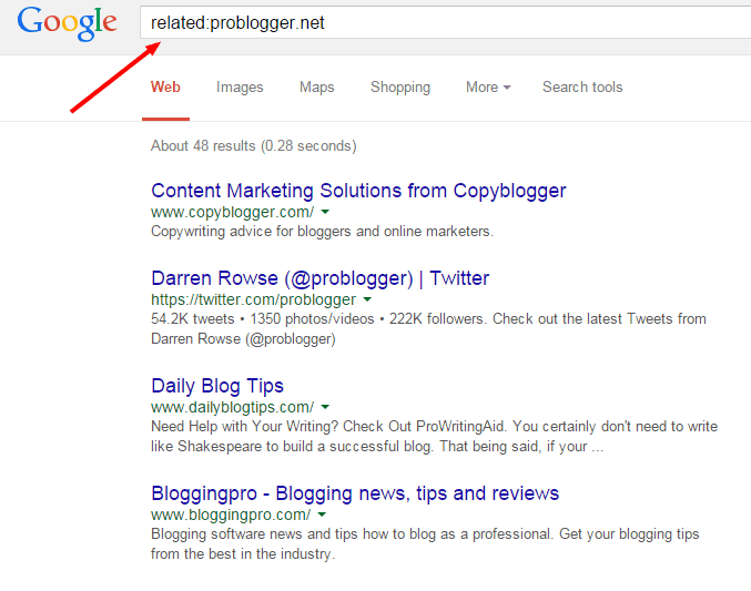 related search results serp