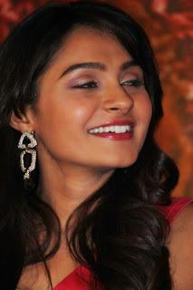 Andrea Jeremiah in Beautiful Short Deep Neck Red Dress at Aranamanai Audio Kaunch
