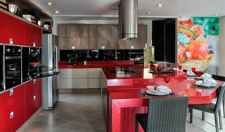 Lar Meu Doce Cantinho Cozinha com Silestone Vermelho? ~ Quarto Planejado Vermelho