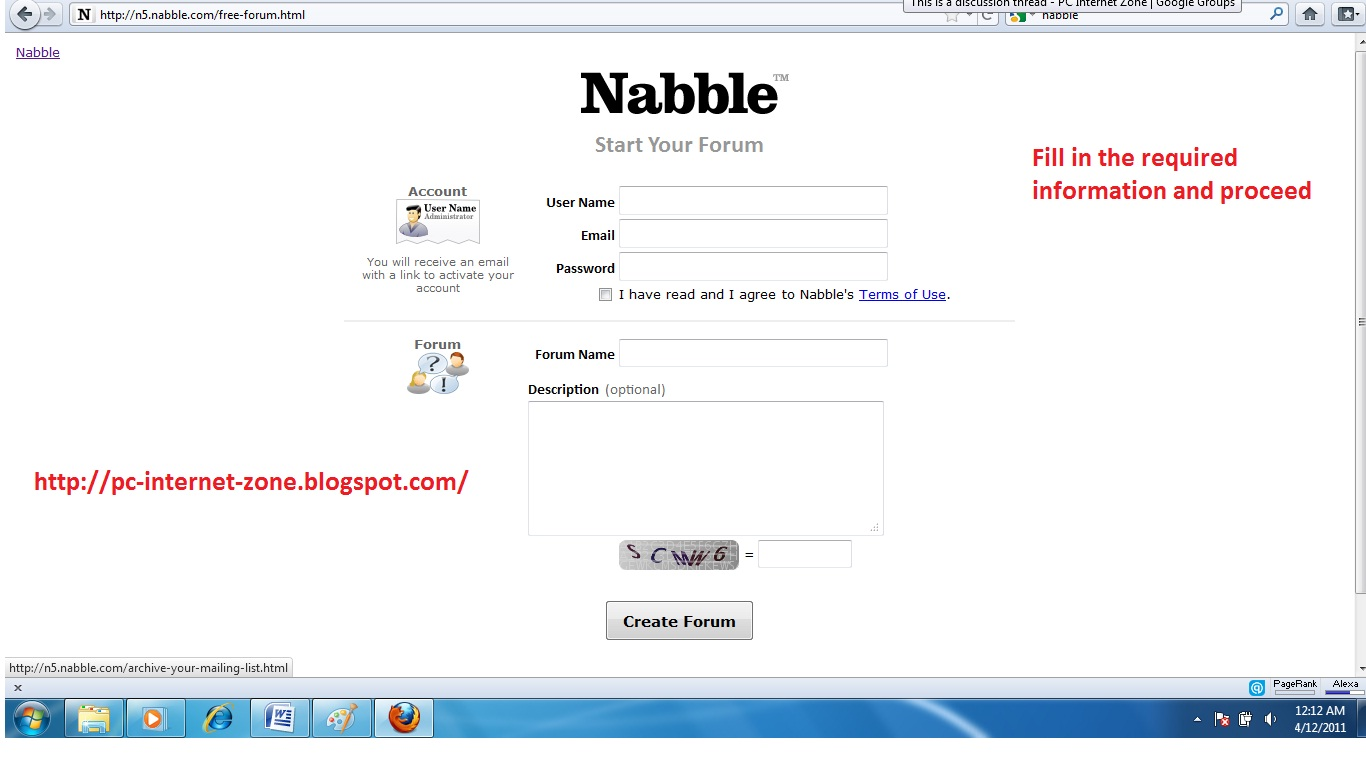 create blogger forum using nabble