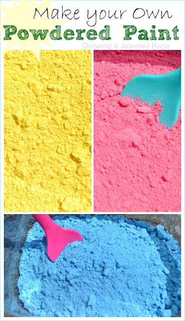 Make your own powdered paint for just one dollar!  So much cheaper than store bought and there are so many ways to use this powder in art & PLAY!