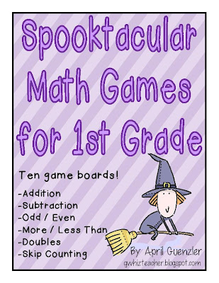 gwhizteacher, spooktacular math games for first grade, halloween math games