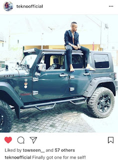 Tekno poses with his new ride