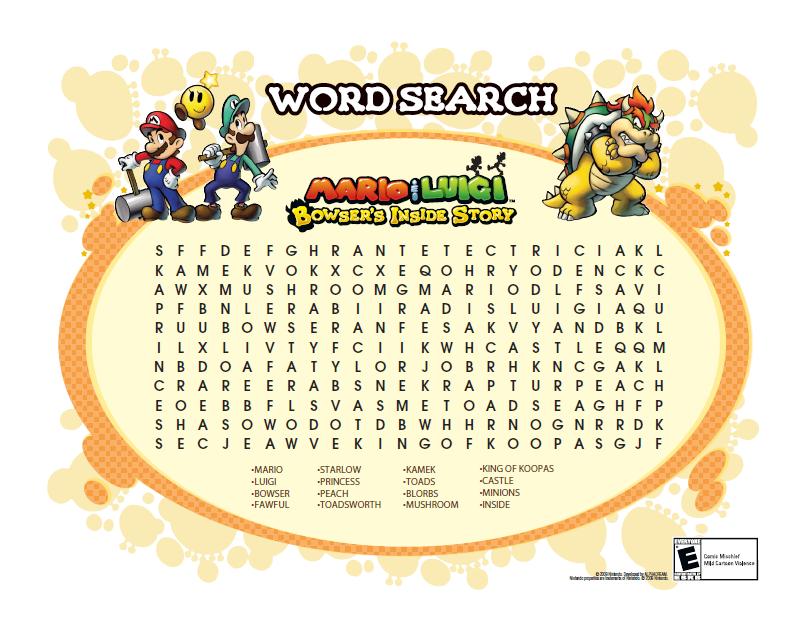 My Super Mario Boy Printable Word Searches