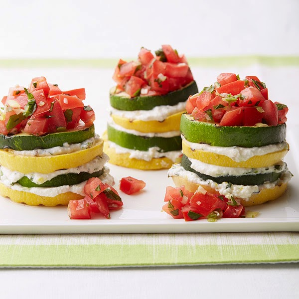 Creamy herbed-ricotta is layered between slices of grilled veggies in ...