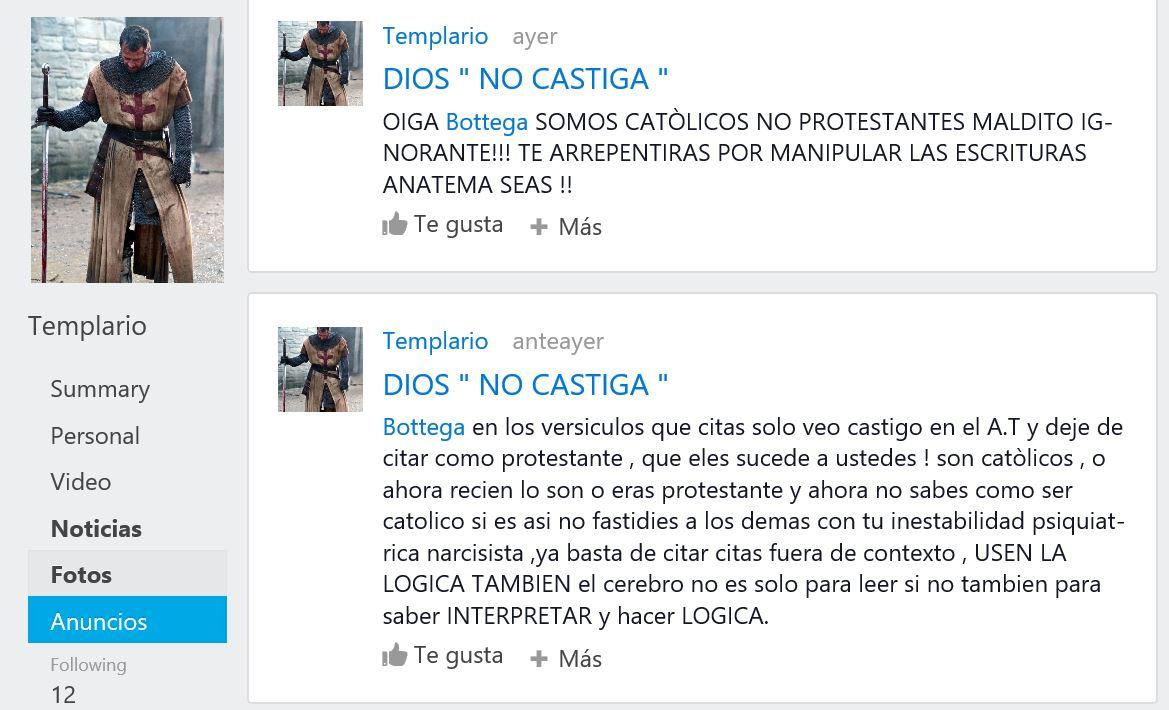 El moderador del foro en español de Gloria tv intimidando y maldiciendo a quienes lo confrontan.