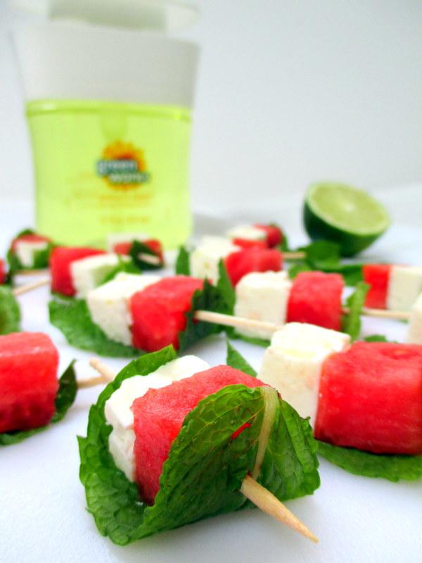 Watermelon Feta Mint Skewers w. Lime & Black Pepper