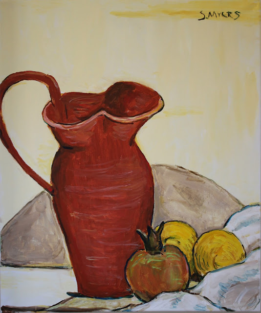art, painting, still-life, natura morte, sarah, myers, arte, pintura, pitcher, red, fruit, lemons, pomegranate, ceramic, amy, myers, modern, contemporary, large, kunst, acrylic, canvas, yellow, table, interior