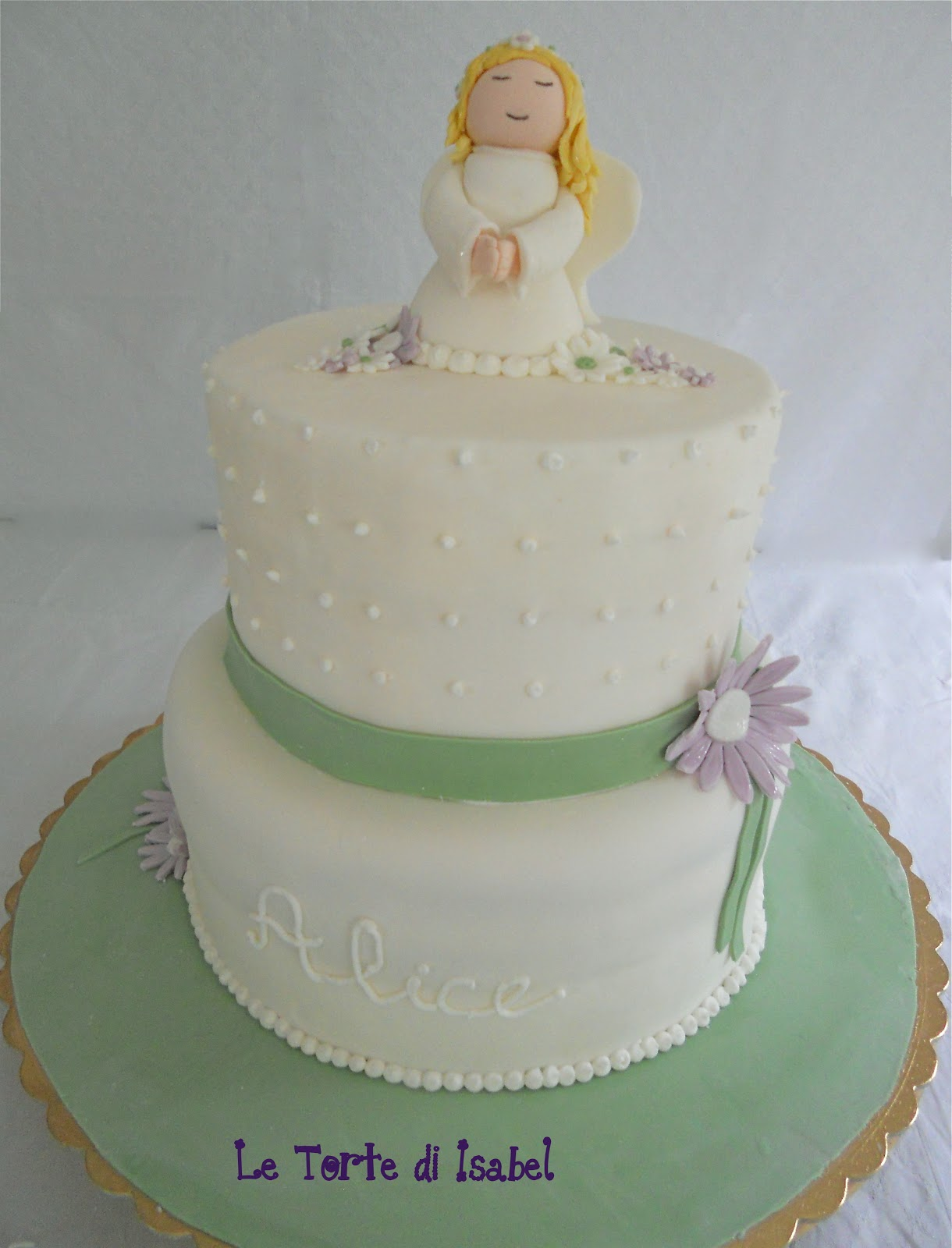 Le torte di isabel torta prima comunione con angelo for Decorazione torte prima comunione