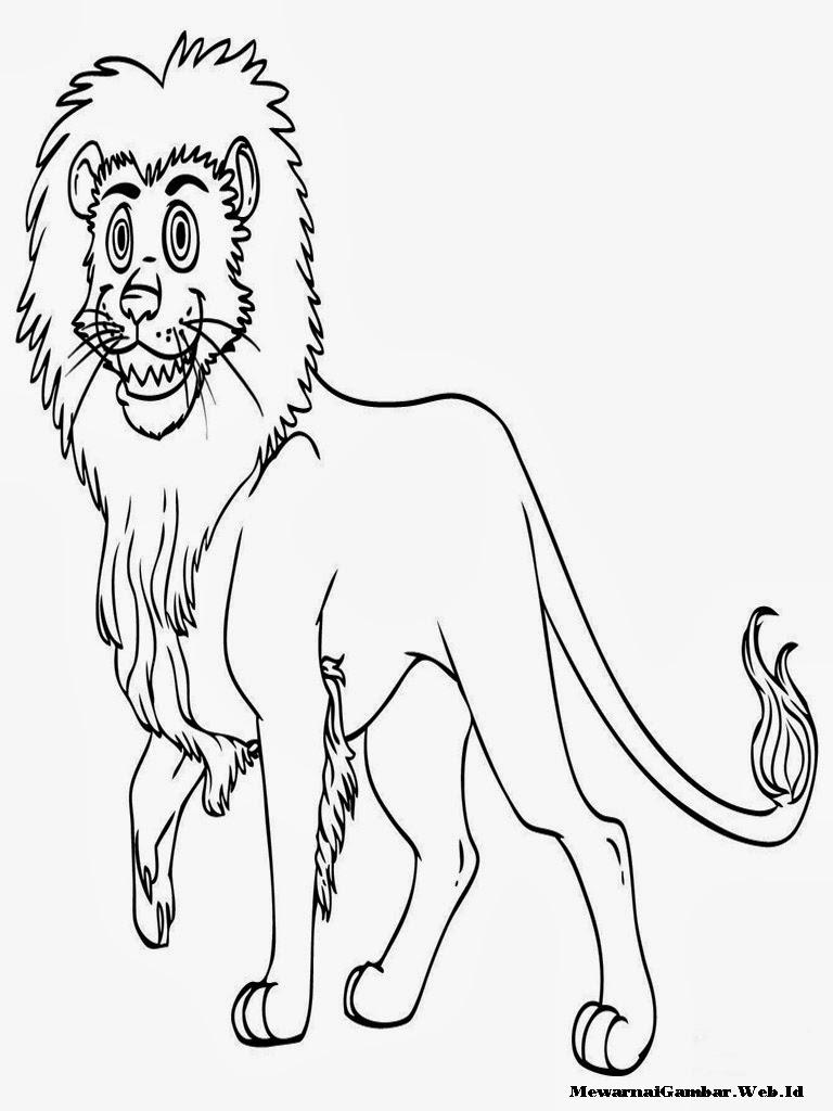 gambar mewarnai seekor singa tersenyum