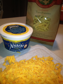 Tillamook Cheese grated, Nancy's cottage Cheese and Imported macaroni