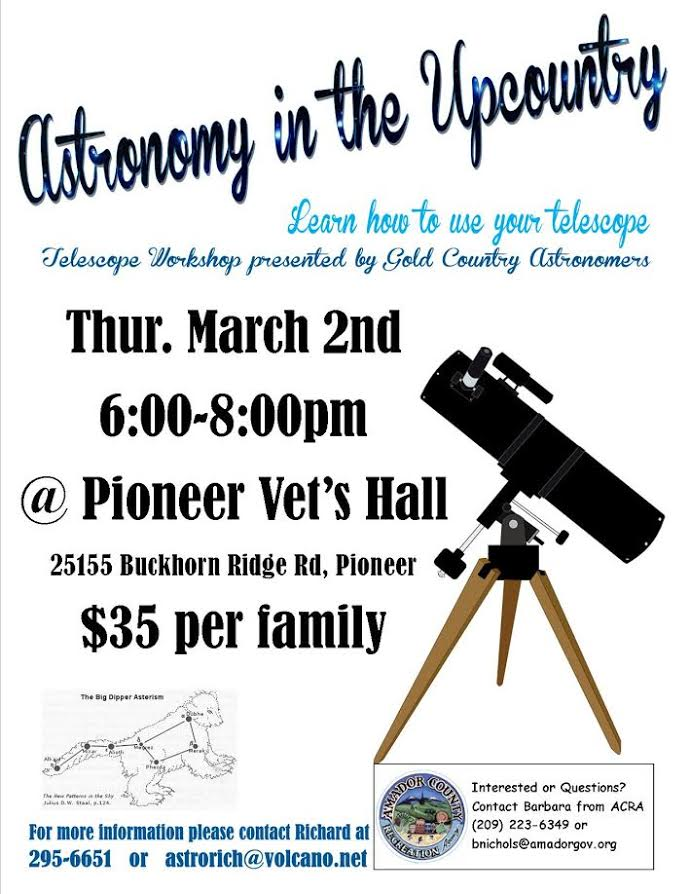 Astronomy In the Upcountry - Thurs Mar 2