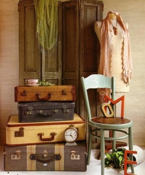 Ethnic Cottage Decor: Decorating with Vintage Luggage