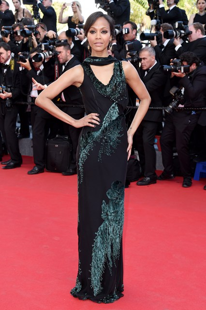 Zoe Saldana chose a dress from Jason Wu's autumn/winter 2014 collection at Cannes 2014