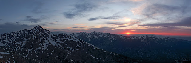 The sun dips below the horizon behind Mt. of the Holy Cross in the northern Sawatch Range, Colorado