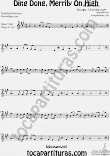 Partitura de Ding Dong, Merrily On High para Saxofón Soprano y Saxo Tenor by Sheet Music for Soprano Sax and Tenor Saxophone Music Scores