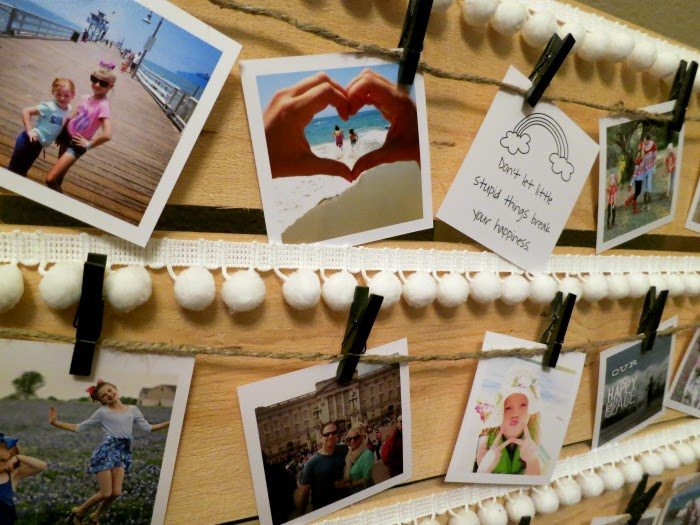 using clothes pins to display photos