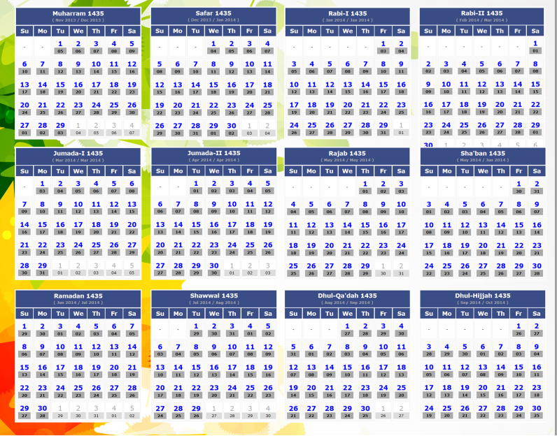 Here is Islamic Calendar 1435 for 2013 and 2014.