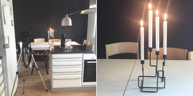 ruokailutila ja kynttilät