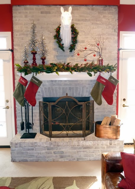 whitewashed brick fireplace makeover