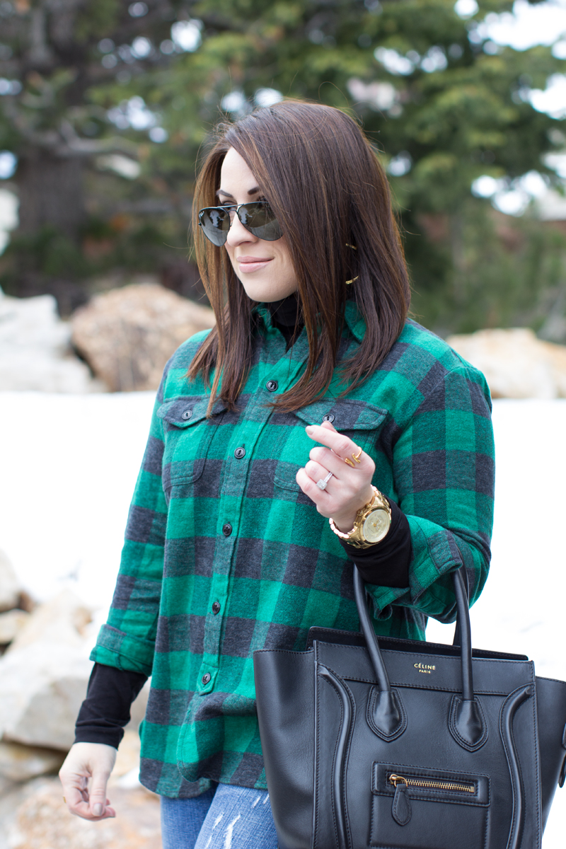 madewell green buffalo plaid top, ray ban black aviators, celine bag, holiday outfit ideas