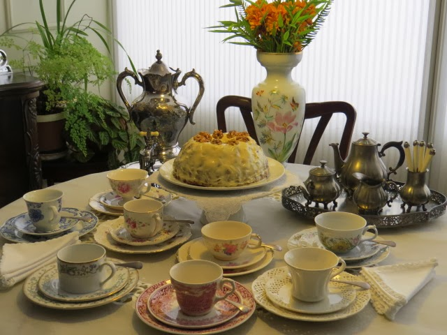Antique \ Royal-Holland Pewter\  tea set with a pretty tray. I decided to take it out of storage and set a table with it for a change. & FABBY\u0027S LIVING: FABBY: Pewter Tea Set and Carrot Cake