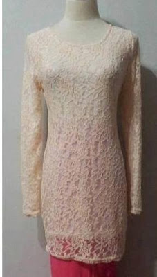 Baju Kurung Lace Peach, Skirt Pink
