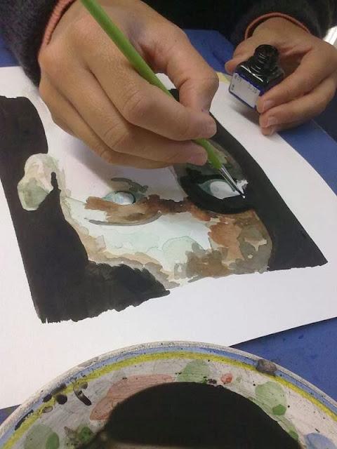 primera parte del proceso de retrato con tinta y acuarela