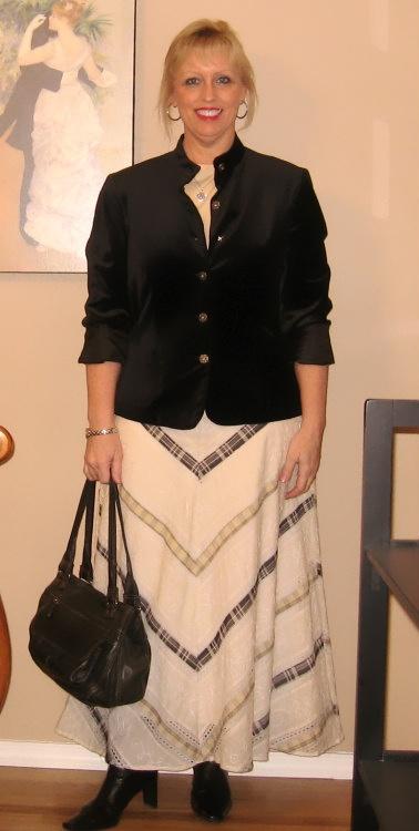 cream black maxi skirt