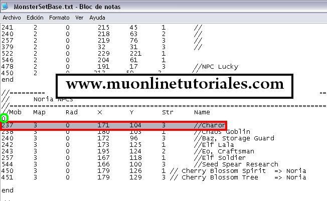 Modificación de la coordenada del npc Charon