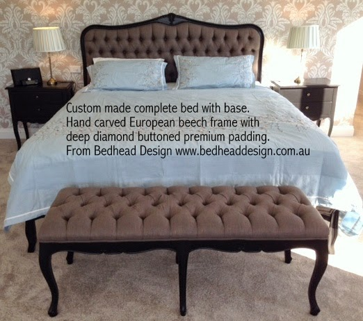 Our Portia deep diamond buttoned bedhead with complete bed base with a special painted finish. Hand carved European beech frame with wooden slats from Bedhead Design