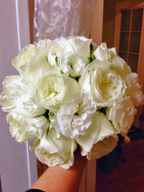 White Garden Rose Floral Bouquet
