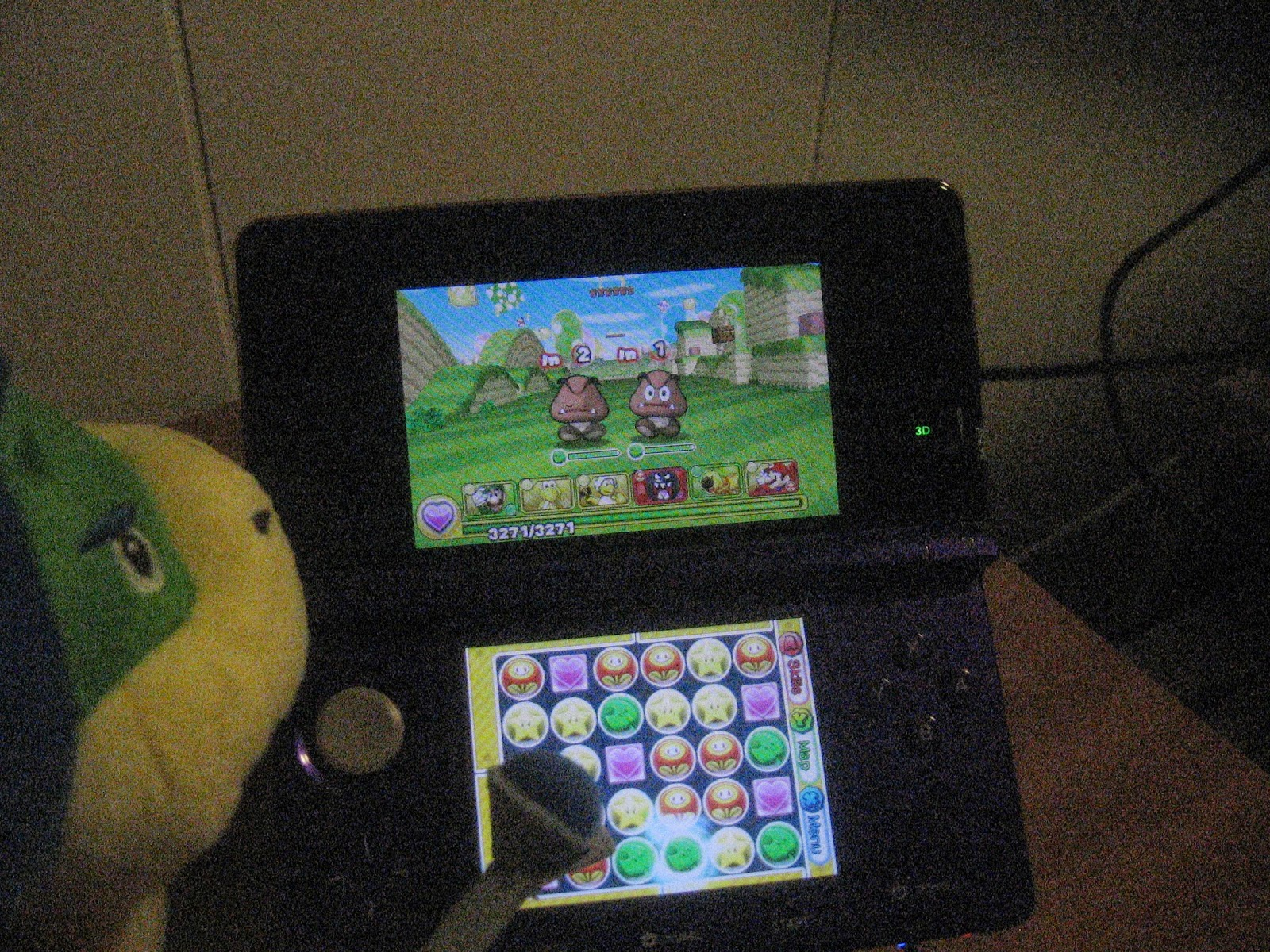 Puzzle & Dragons Super Mario Bros. Edition gameplay stylus touch screen Ludwig Von Koopa plushie