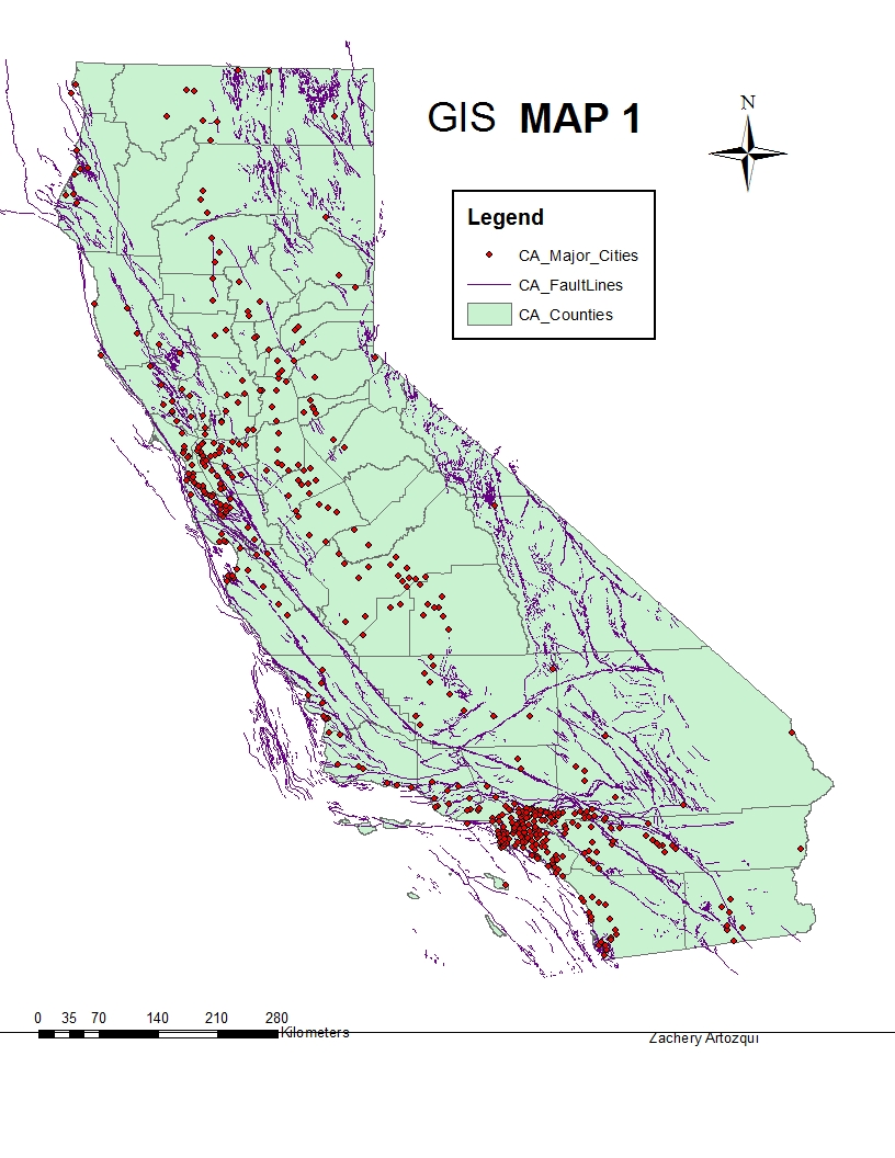this map illustrates the correlation between major cities in california and fault lines in california the reason i chose to make this map was because i