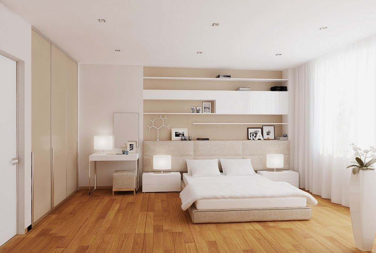 White Bedroom Design Wood Floor