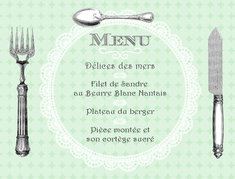 Mariages r tro cr ation t l chargeable menu r tro fa on for Set de table papier pour restaurant