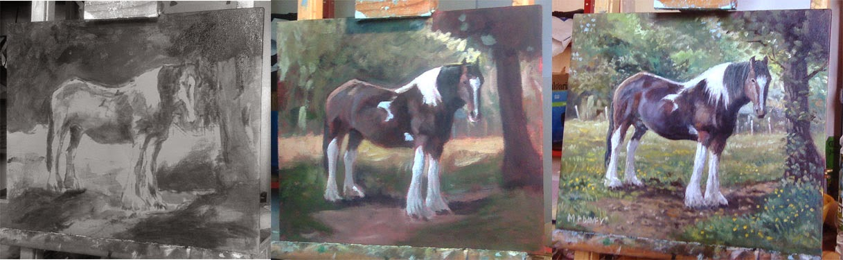 Large horse in field _WIP oil painting Artist M P Davey
