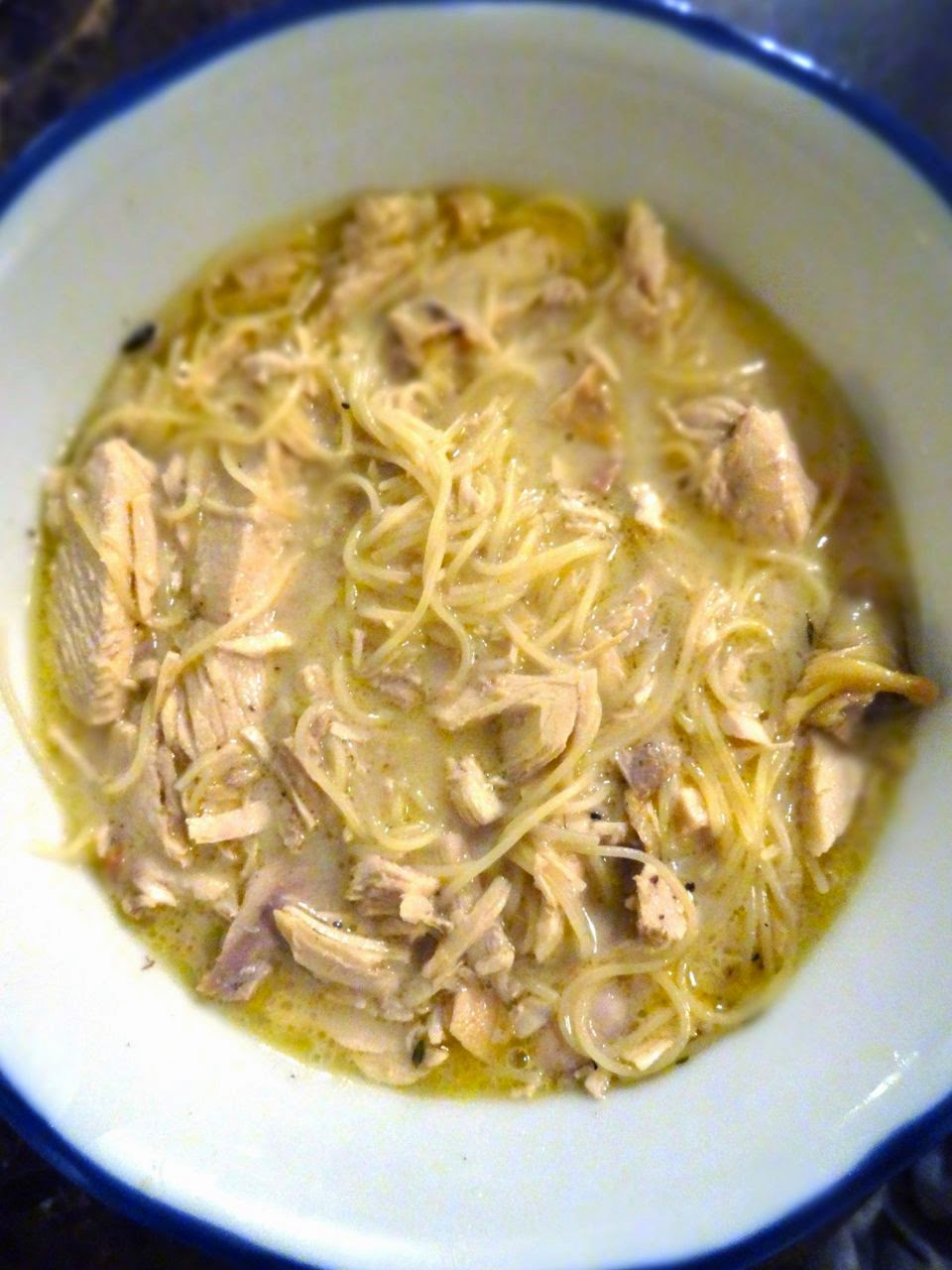 scrumpdillyicious chicken soup with crème fraîche and capellini
