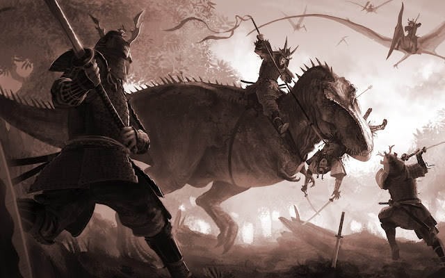 Dinosaurio vs Samurais Fantasy Wallpapers - Fondos de Fantasía