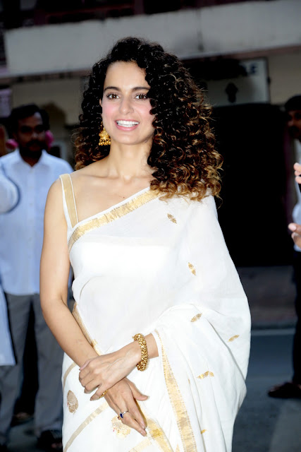 Kangana Ranaut looks Beautiful in White Transparent Saree on Birth Anniversary of Swami Vivekananda in Mumbai