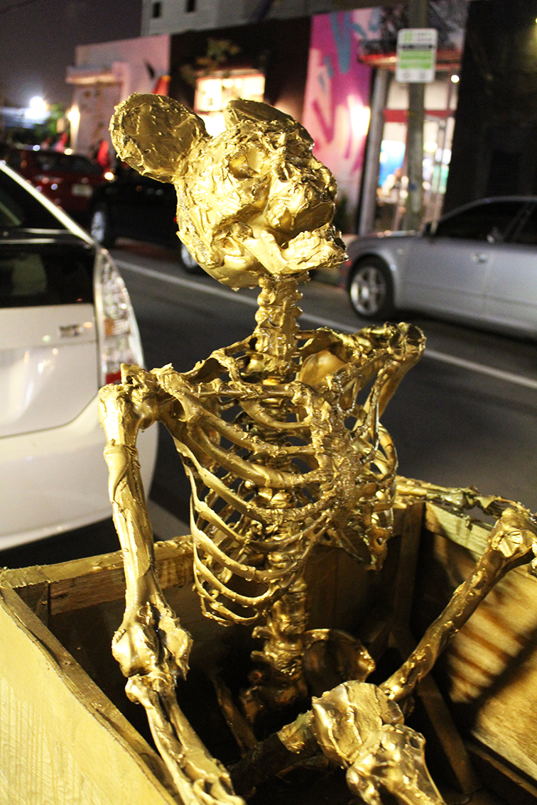 Fashion Over Reason at Miami Art Basel 2014 MBAB, gold skeleton