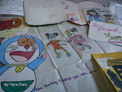 A collection of handwritten letters and greeting cards of birthdays and anniversaries for Mother