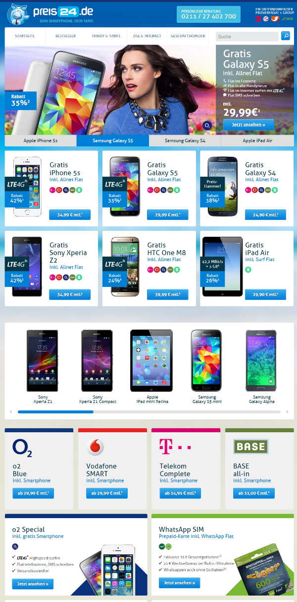 preis24.de - Handy mit Vertrag günstig online bestellen  Website Struktur