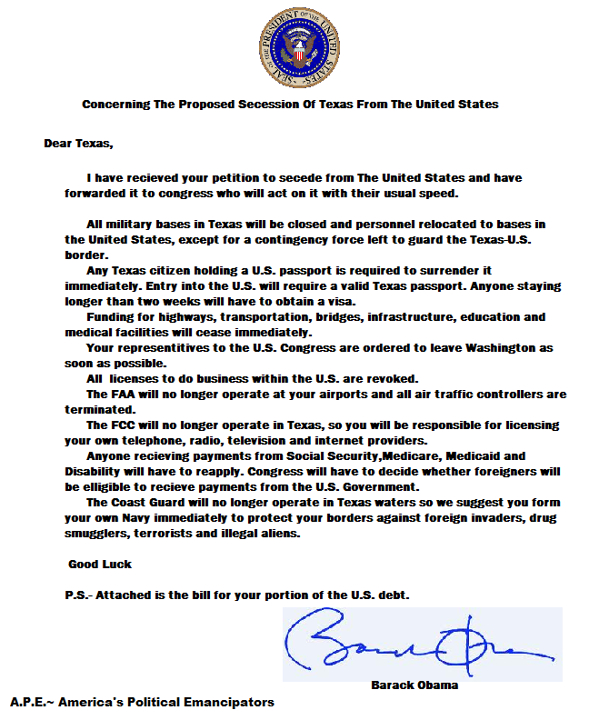letter to seceding states from obama 