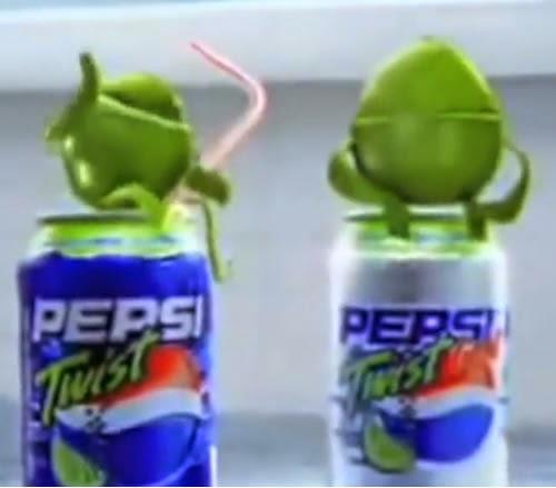 Propaganda do refrigerante Pepsi Twist no começo do ano 2000: tradicional sabor de Pepsi com toque de limão